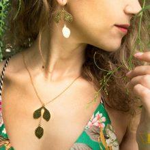 model wearing naturae necklace