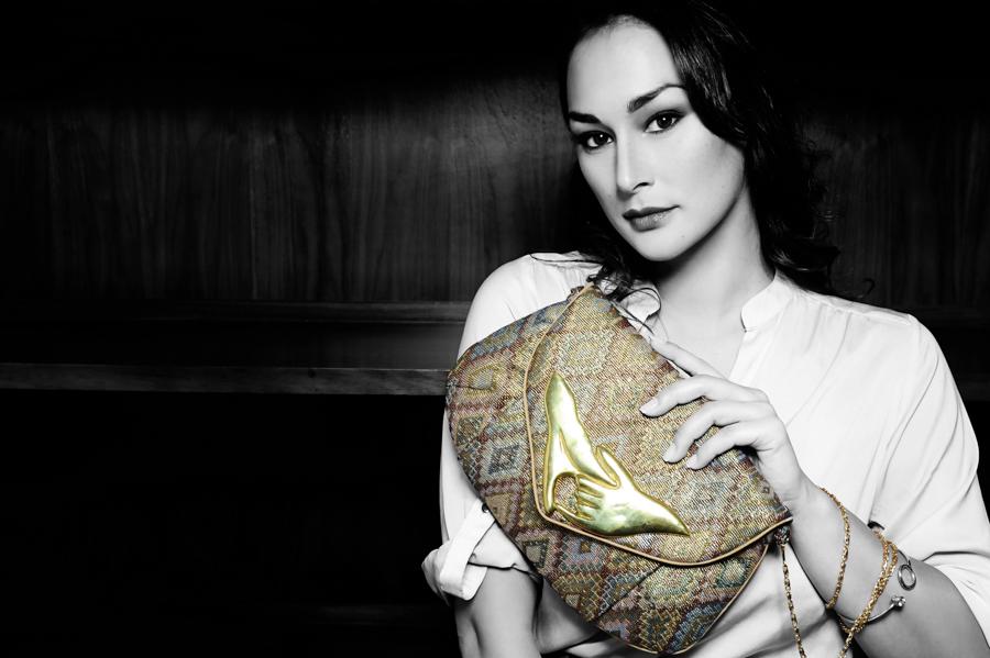 Gaya handbag in gold navajo jacquard with recycled bombshell feature