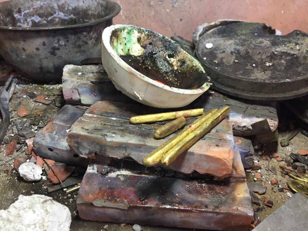 metal ingots after melting