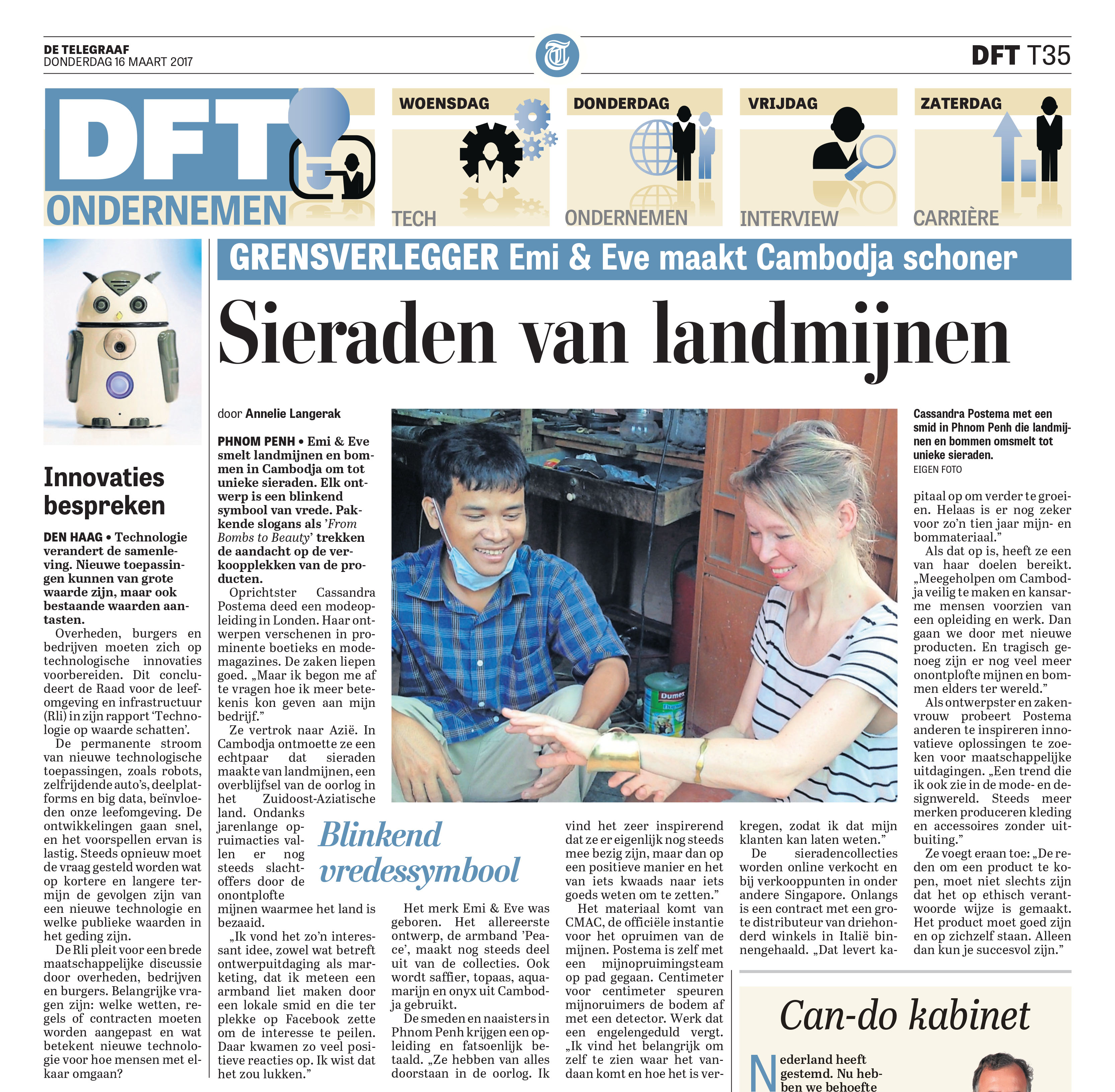 Telegraaf newspaper article Cassandra Postema