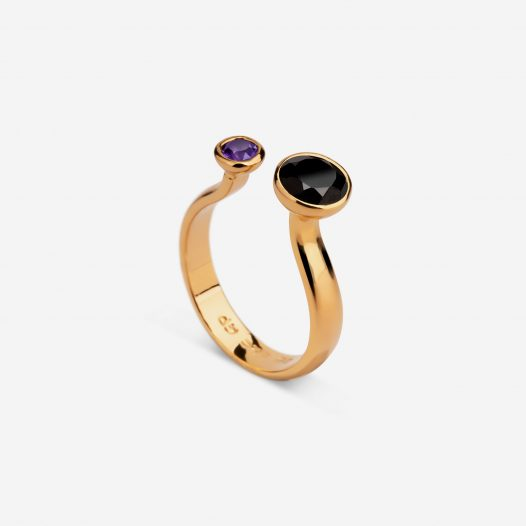 Two stone ring amethyst onyx