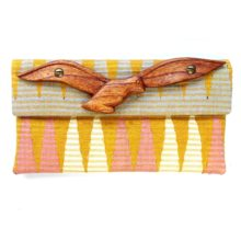 orange clutch with parrot