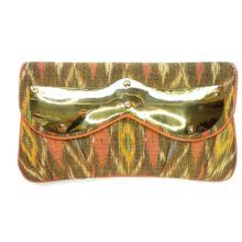 ikat clutch with brass