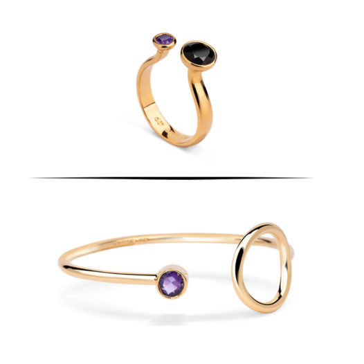 ring and bracelet with amethyst