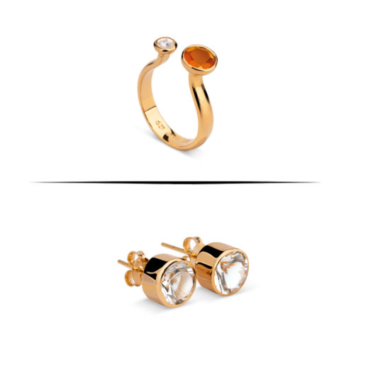 ring and earrings with topaz